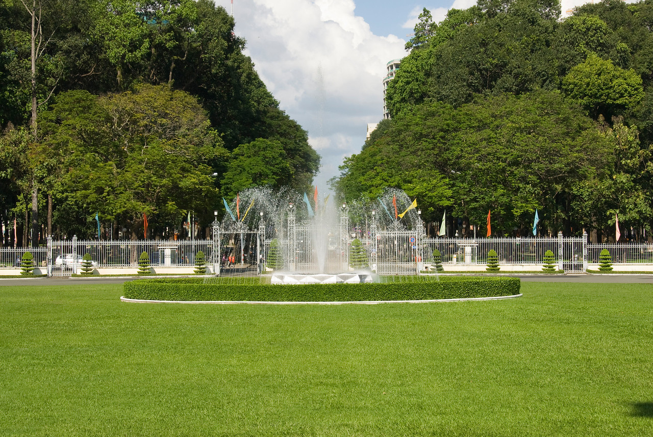 Fountain at landscape of Reunification Palace - Saigon, Vietnam