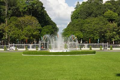 Fountain at landscape of Reunification Palace - Saigon, Vietnam