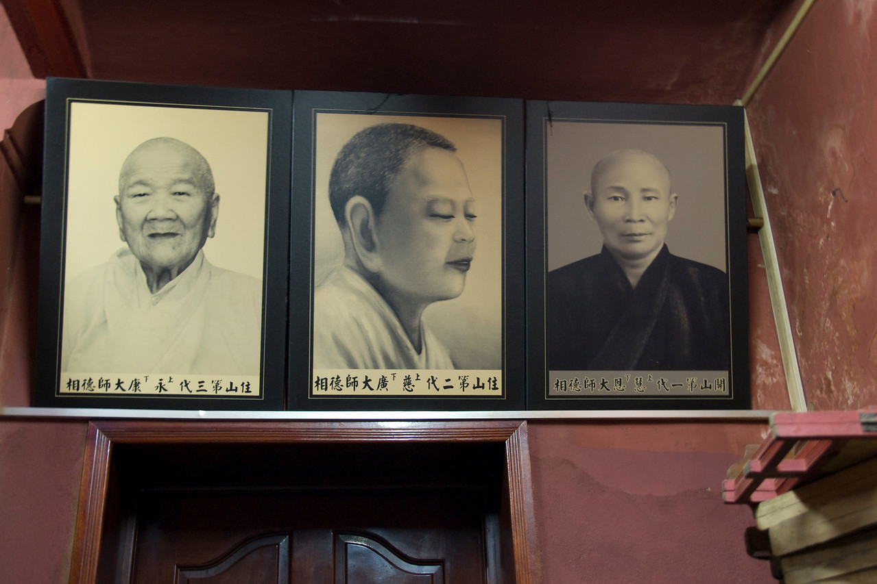 Monk photos in frame in Saigon, Vietnam