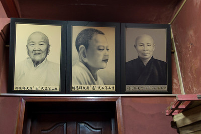 Monk photos in frame in Saigon, Vietnam