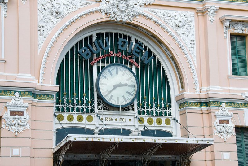 Huge clock outside the Post Office in Saigon, Vietnam