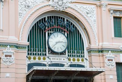 Huge clock outside the Post Office in Saigon, Vietnam