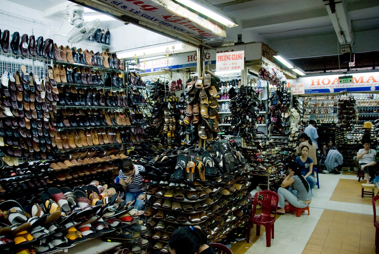 Shoe stores in Hong Kong Market - Saigon, Vietnam