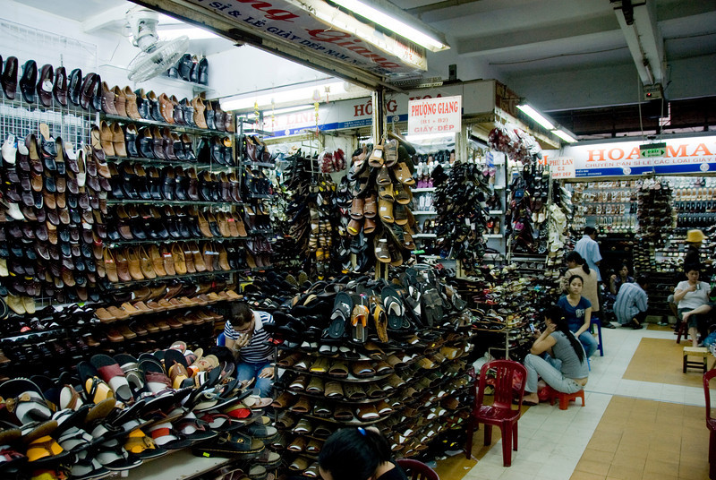 Shoe stores in Hong Kong Market - Saigon, Vietnam