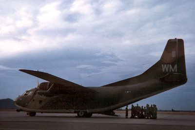 June 7, 1970.  The guys wait to board the C-123 for the first leg of the trip home.  I hang back a moment to take a final photo.