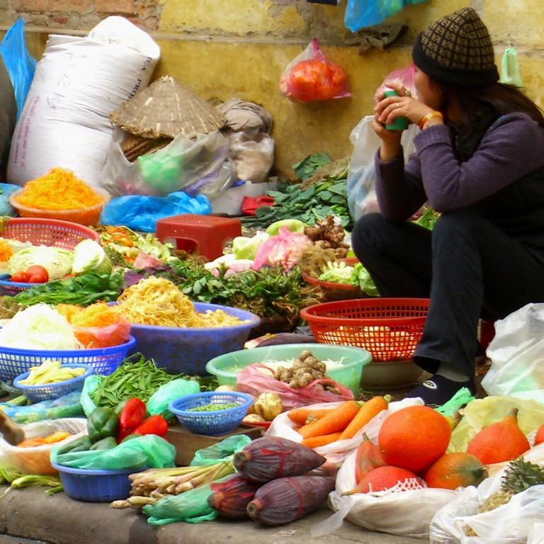 Vendor and Her Goods - Hanoi, Vietnam