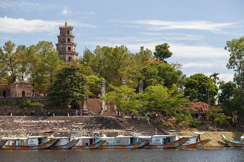 Thien Mu Pagoda and Perfume River, Hue, Vietnam.