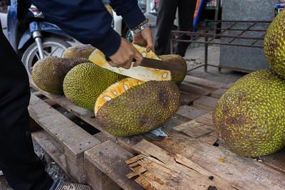 Slicing a jackfruit