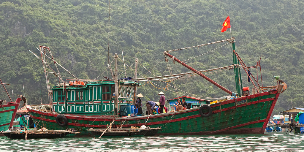 fishing boat near cat ba island vietnam