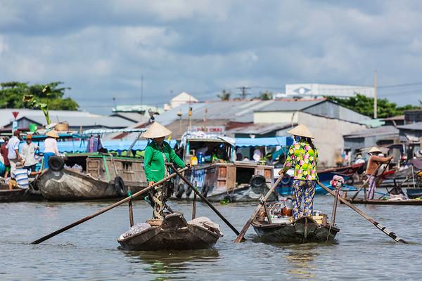 Floating market in Mekong river delta