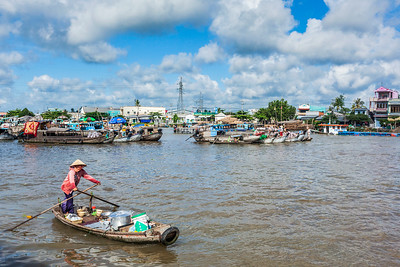 Floating market in Mekong river delta
