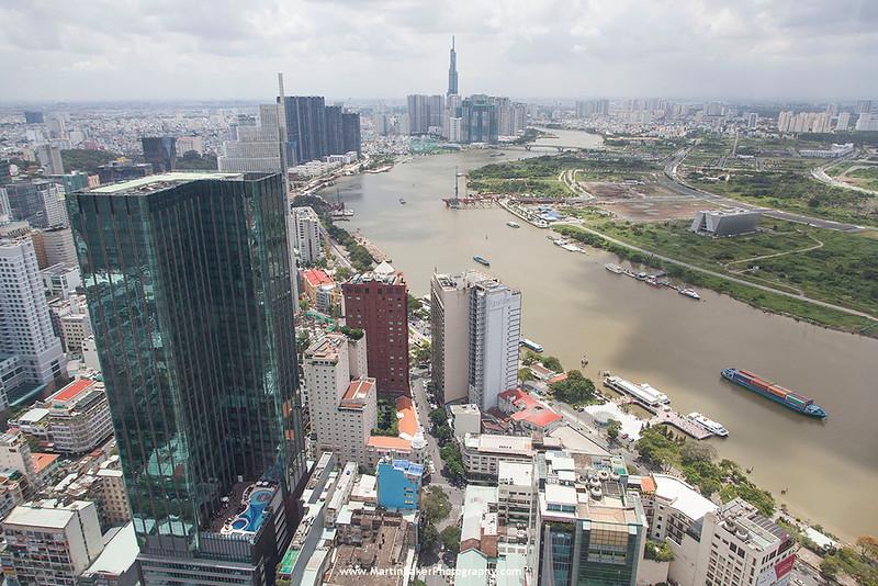 Saigon River and Ho Chi Minh City (Saigon) (view from Bitexco Financial Tower), Vietnam.
