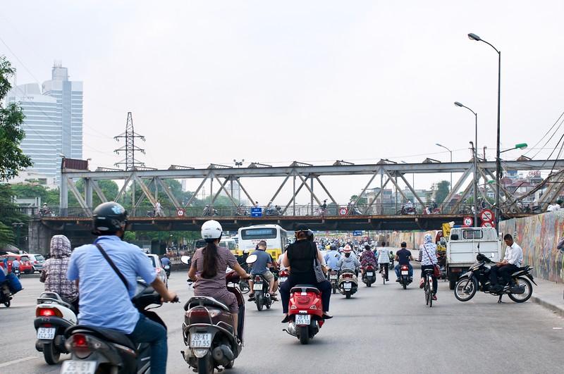 A trishaw ride through busy Hanoi roads