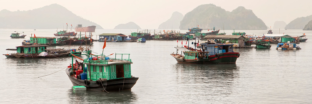 vietnamese-boats-in-cat-ba-island-harbour-with-karst-islands-in-misty-background