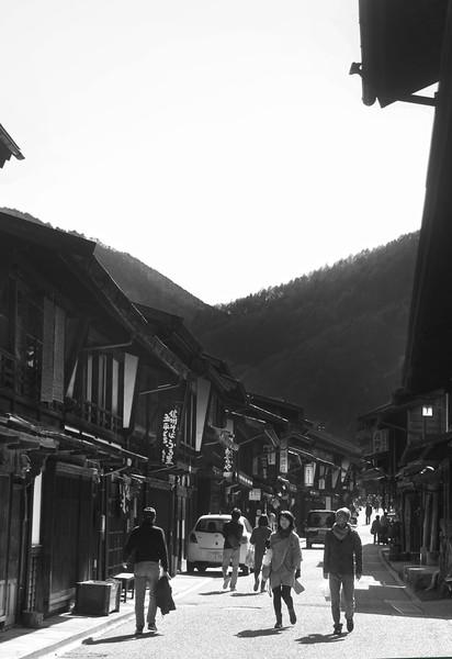 Narai-juku, Japanese Heritage Post Town, BW Street Scene