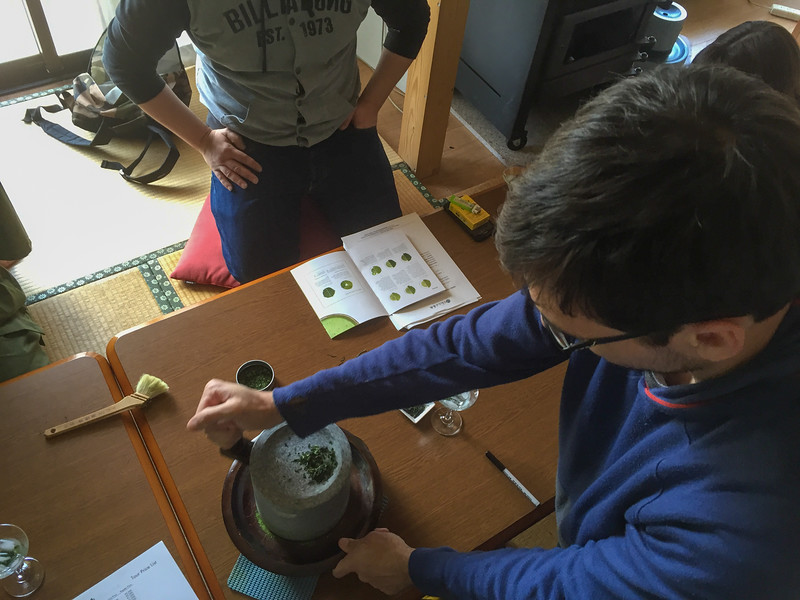 Learning to grind ceremonial matcha tea by hand | A Japanese Tea Tasting Tour in Wazuka, near Kyoto, Japan