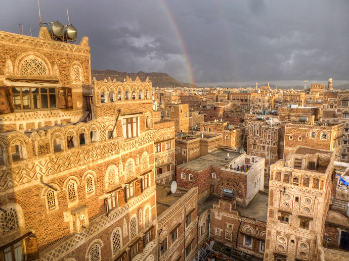 old city sanaa rainbow