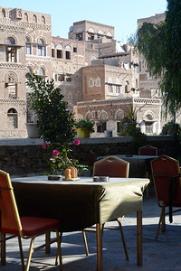 The breakfast patio where I stayed in Sana'a...