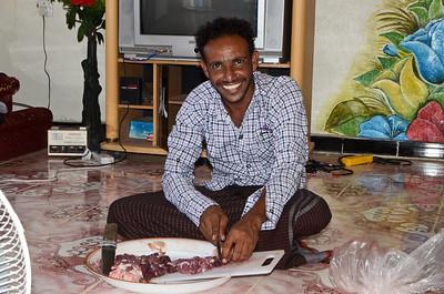 Ibrahim cooking dinner...