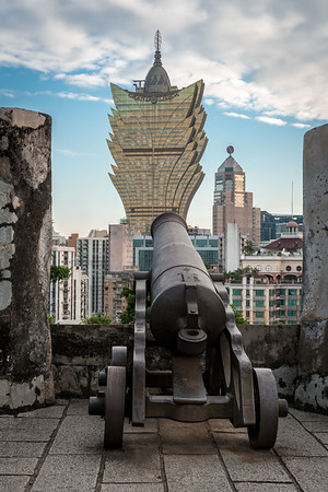 One of the cannons at the Portuguese-built Mount Fortress in Macau, China.