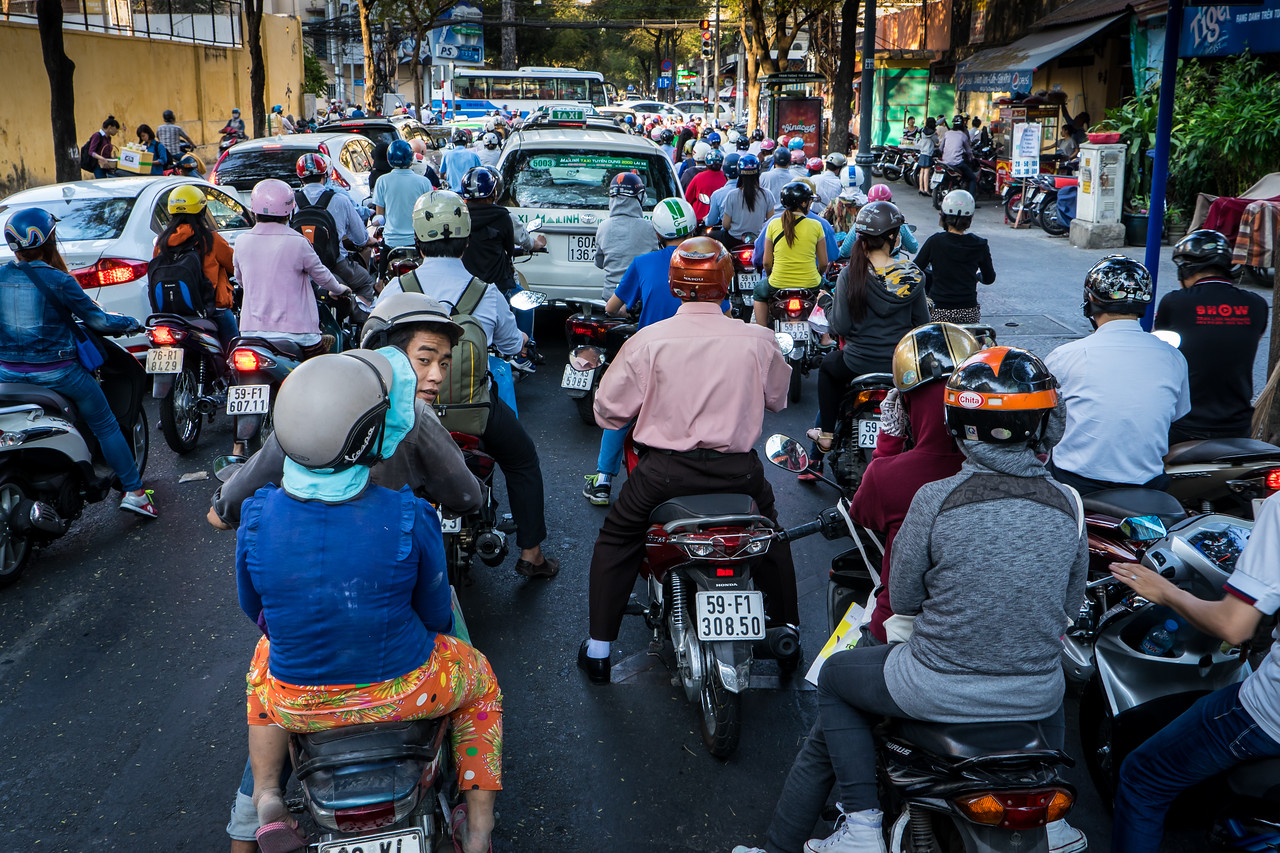 Typical Afternoon Street Traffic in Downtown Saigon