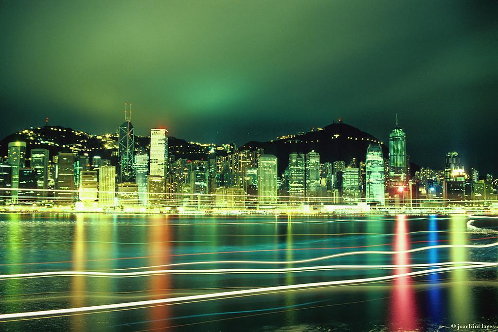Night view of Hong Kong island waterfront skyline, 香港