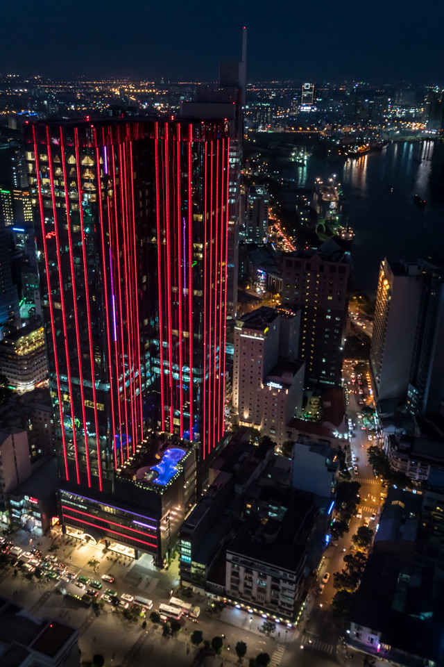 Times Square in Red near the Saigon River, viewed from the Bitexco Tower in Ho Chi Minh City