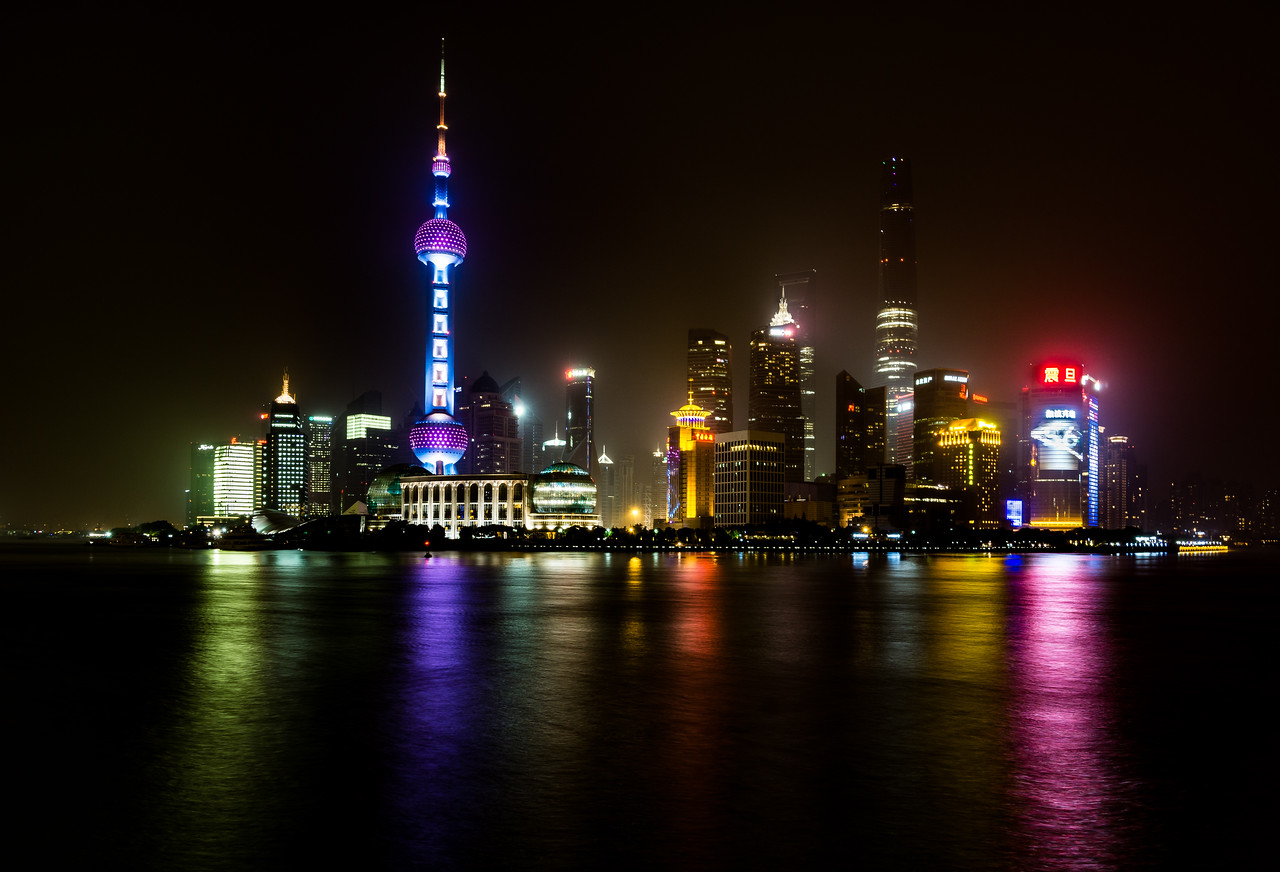 View of The Bund across Huangpu River in Shanghai, China