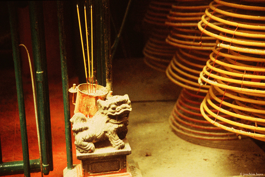 Chinese guardian lion with incense, Hong Kong