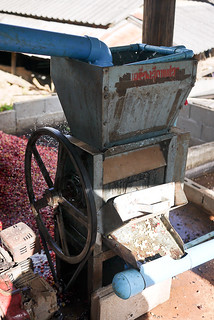 The machine used to remove the soft outer layer from the coffee beans.