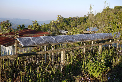 Solar panels keep the village in power at the Akha Ama coffee village near Chiang Mai, Thailand.