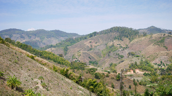 Views of the hillsides on the journey to the Akha Ama coffee village near Chiang Mai, Thailand.