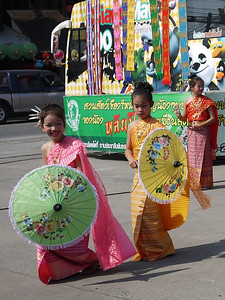 Young Thai cultural dancers, Bo Sang Umbrella Festival, Chiang Mai, Thailand