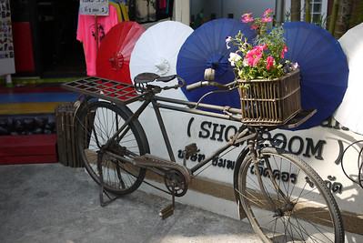 Old bicycle at the Bo Sang Umbrella Festival, Chiang Mai, Thailand
