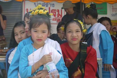 Thai cultural dancers, Bo Sang Umbrella Festival, Chiang Mai, Thailand