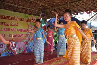 Young cultural dancers, Bo Sang Umbrella Festival, Chiang Mai, Thailand