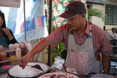 Crepe man, Bo Sang Umbrella Festival, Chiang Mai, Thailand