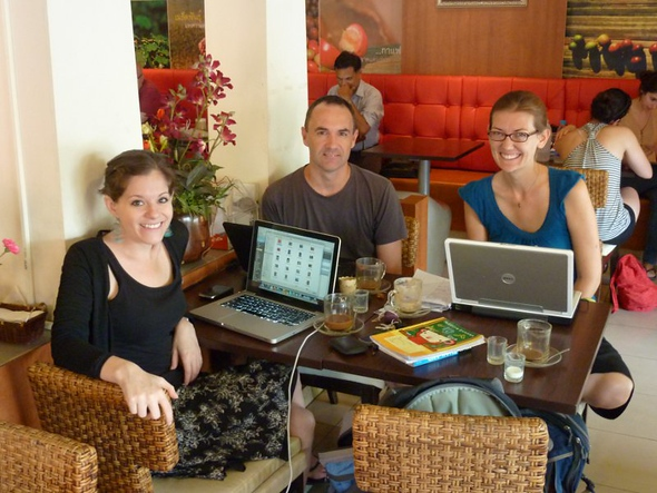 A wifi work party with Jodi of Legal Nomads and James from Nomadic Notes in Chiang Mai, Thailand.