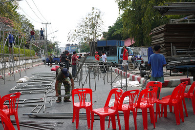 Stage setting up for red shirt rally in Chiang Mai, Thailand Arak Soi 5.