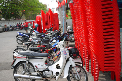 Redshirt chairs setting up in Chiang Mai, Thailand for the pending demonstrations.