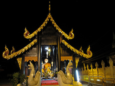 The small teak wat near Three Kings Monument in Chiang Mai, Thailand
