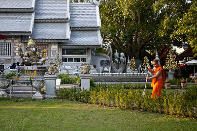 Wat Srisuphan at sunset in Chiang Mai, Thailand