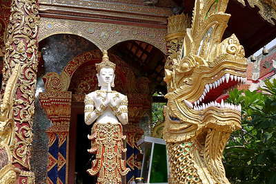 Entrances to the temples, wats, in Thailand often feature dragons. Chiang Mai, Thailand