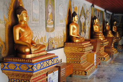 Buddhas line Doi Suthep in Chiang Mai, Thailand (Claire)