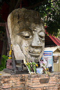A Buddha face at a wat in Chiang Mai, Thailand