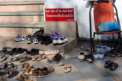 A pile of shoes in Chiang Mai, Thailand (Claire)