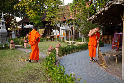 Monks at Wat Srisuphan in Chiang Mai, Thailand