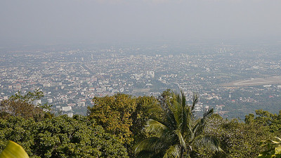 The view over Chiang Mai from Wat Doi Suthep in Thailand