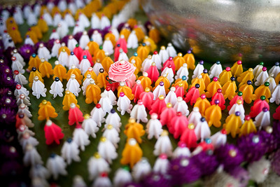 Offering bowl and decorations at a wat near Chiang Rai, Thailand