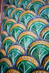 Ceramic scales on a dragon at Wat Doi Suthep in Chiang Mai, Thailand